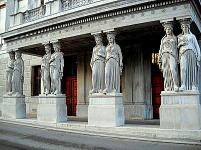 Caryatid columns in Vienna Austria