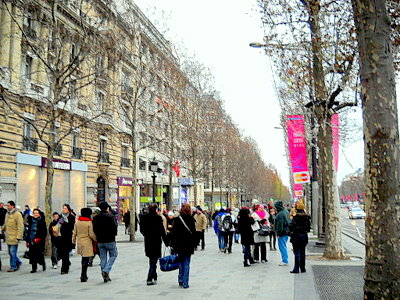 Champs Elysees pedestrian walkway Paris France