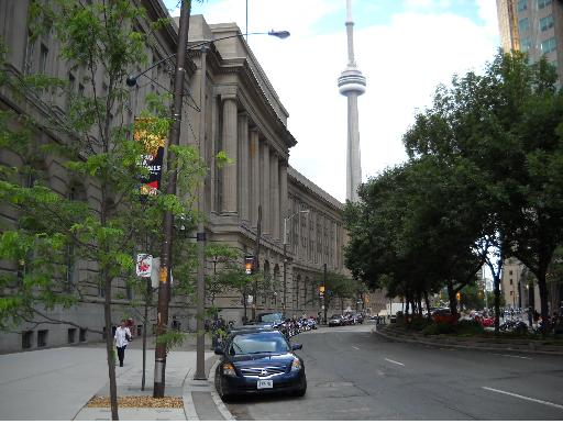 CN Tower view from Front Street Toronto Canada