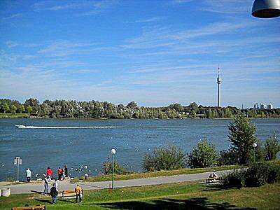 Danube river Millennium City Vienna Austria