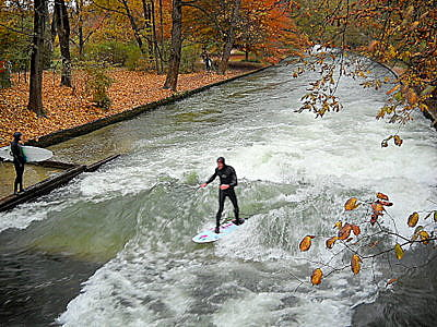 Eisbach surfer in Munich Germany