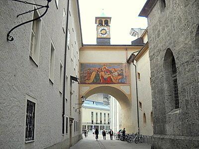 Franziskanerkirche overpass to Franciscan monastery Salzburg Austria