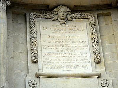 Grand Palais memorial plaque Grand Palais Paris France
