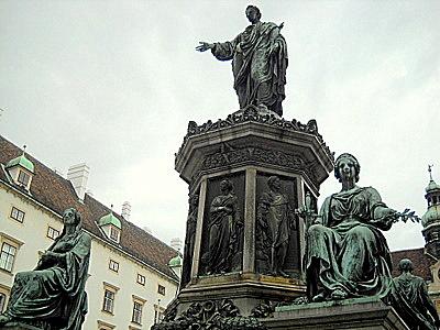 Hofburg palace inner courtyard Francis II statue Vienna Austria