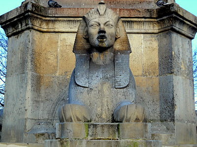 La Fontaine du Palmier Sphinx Place du Chatelet Paris France