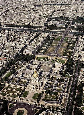 Les Invalides aerial view Paris France
