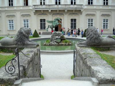 Mirabell palace Pegasus and lion statues Salzburg Austria