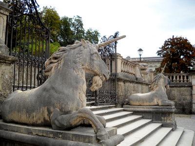Mirabell palace unicorn statues Salzburg Austria
