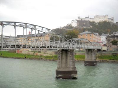 Mozart steg pedestrian bridge Salzburg Austria