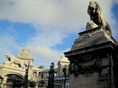 Palais Longchamp gate animal statues Marseille France
