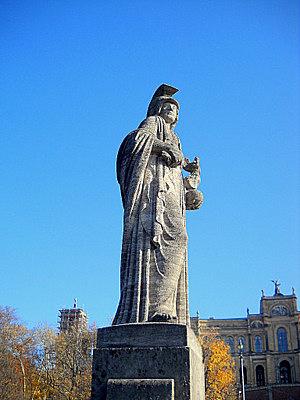 Pallas Athene statue Maximilianbrucke Munich Germany