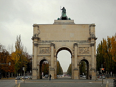Siegestor southern facade Munich Germany