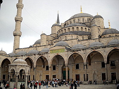 Blue Mosque inner courtyard and minaret Istanbul