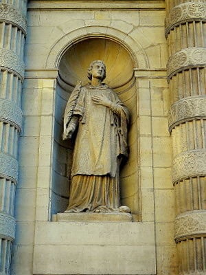 St Etienne statue at Saint Etienne du Mont church Paris France