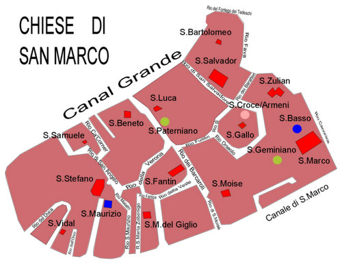 Churches in San Marco Venice Italy map