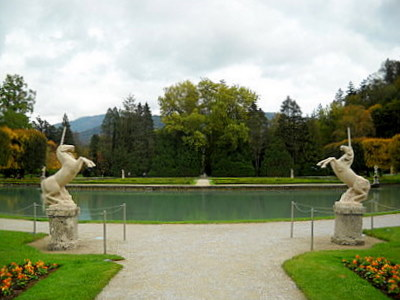 Unicorn statues Hellbrunn palace Salzburg  Austria