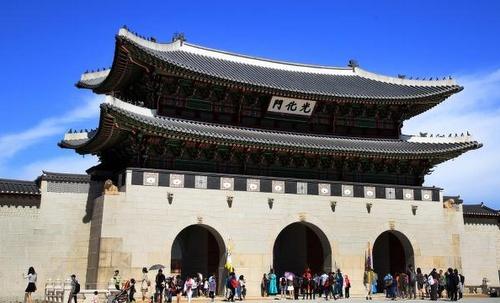 Gyeongbokgungin palatsi Seoul Etelä-Korea.