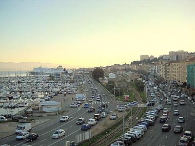 Ajaccio harbor in France
