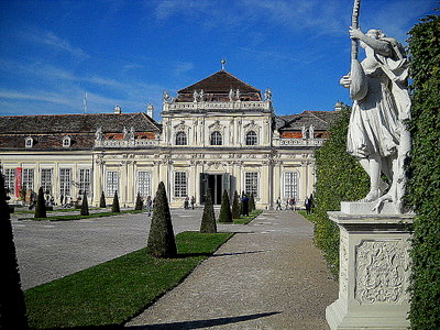 Lower Belvedere palace and gardens & statue Vienna Austria