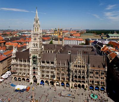 Marienplatz square as seen from Peterskirche church tower