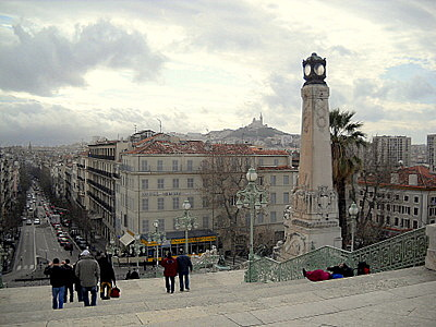 Marseille railway station towards Notre Dame de la Garde church