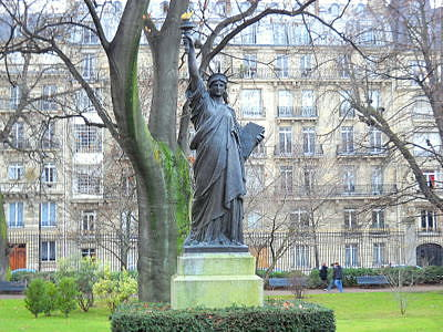 Statue of Liberty in Luxembourg Gardens Paris France