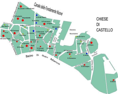 Venice churches Castello map